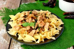 Italian food with pasta tagliatelle,sun dried tomatoes,basil and chicken meat on green cloth on wooden background Royalty Free Stock Photos