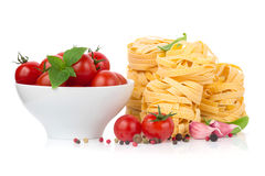 Italian food  - pasta, tomatoes, basil, garlic Stock Photography