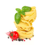 Italian food  - pasta, tomatoes, basil, garlic Royalty Free Stock Photography