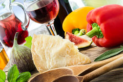 Italian food - Pecorino and wine Stock Images