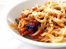 Italian Food - Pici pasta with grilled vegetables Royalty Free Stock Photo