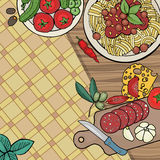 Italian food with plate of pasta Stock Image