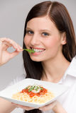 Italian food - portrait healthy woman spaghetti Royalty Free Stock Photo