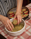 Italian food preparation Stock Images