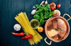 Italian food preparation pasta on wooden board Stock Photos