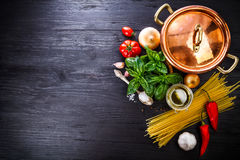 Italian food preparation pasta on wooden board. In style copyspace royalty free stock photography