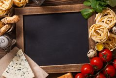 Italian Food Recipe On Rustic Wood Royalty Free Stock Photography