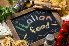 Italian food recipe on rustic wood Royalty Free Stock Image