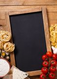 Italian food recipe on rustic wood Royalty Free Stock Photos