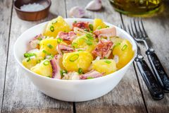 Italian food: salad with octopus, potatoes and onions Royalty Free Stock Image