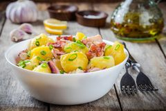 Italian food: salad with octopus, potatoes and onions Stock Images