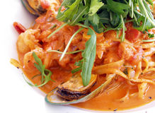 Italian food, seafood tomato pasta Stock Images