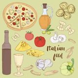 Italian food set Royalty Free Stock Image