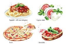 Italian food set. Pizza, spaghetti with sause bolognese, Caprese salad, Bruschetta. Watercolor hand drawn illustration isolated on. White background vector illustration