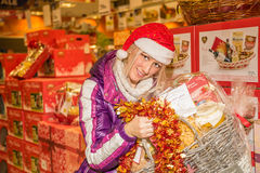 Italian food shopping for the Christmas holidays Royalty Free Stock Images