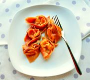 Italian food: shrimp ravioli Royalty Free Stock Images