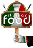 Italian Food - Sign with Hand of Chef Royalty Free Stock Images