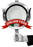 Italian Food - Sign with Hand of Chef Royalty Free Stock Image