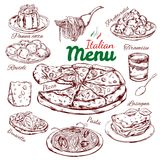 Italian Food Sketch Collection Stock Images