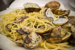 Italian food. Spaghetti with clams . Stock Image