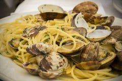 Italian food. Spaghetti with clams . Stock Image