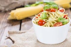 Italian Food (Spaghetti with Pesto) Stock Photography
