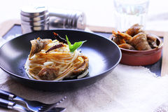 Italian food spaghetti. With salmon fish with salmon fish Royalty Free Stock Photo