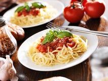Italian food - spaghetti with tomato sauce Stock Images