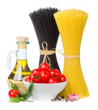 Italian food  - spaghetti, tomatoes, basil, olive oil, garlic an Stock Image