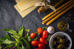 Italian food  still life top view Stock Images