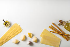 Italian food still life on the white background top view Stock Photos