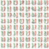 Italian food symbols. Splotches with the italian colors  and food symbols Royalty Free Stock Photos