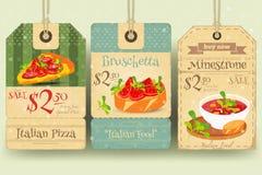 Italian Food Tags Price Stock Photos