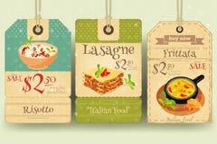 Italian Food Tags Price Royalty Free Stock Photos
