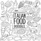 Italian Food Traditional doodle icon hand draw set Stock Image