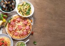 Traditional italian food. Mediterranean cuisine. Top view with copy space stock images