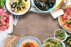 Traditional italian food. Mediterranean cuisine. Top view with copy space royalty free stock images