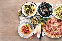 Traditional italian food. Mediterranean cuisine. Top view with copy space stock photography