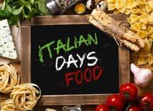 Italian food on vintage wood background Stock Photo