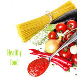 Italian Food With Vegetable, Olive Oil, Spaghetty And Tomato Ketchup Royalty Free Stock Photos