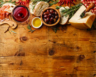 Italian food on wooden background copy space Royalty Free Stock Images