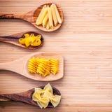 Italian foods concept and menu design. Various kind of Pasta Elb Stock Photo