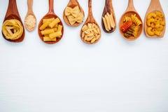 Italian foods concept and menu design. Various kind of Pasta Far Stock Images