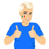 Italian football fan showing thumbs up sign Royalty Free Stock Photo