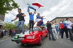 Italian football fans celebrating their team`s victory on the streets in Vancouver, Canada stock image