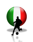 Italian Football Soccer Logo. 3D Flag of Italy ball with silhouetted Soccer or Football player for logo or icon Royalty Free Stock Photo