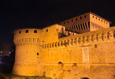 Italian fortress. At night - castle of Caterina Sforza in Forli, Emilia Romagna, Italy Stock Photo