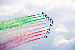 Italian Frecce Tricolori formation on Radom Airshow, Poland Royalty Free Stock Image