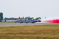 Italian Frecce Tricolori formation on Radom Airshow, Poland Royalty Free Stock Photography