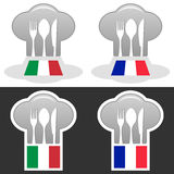 Italian and French Cuisine Stock Photo